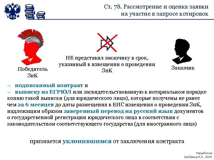 Ст. 78. Рассмотрение и оценка заявки на участие в запросе котировок Победитель Зп. К