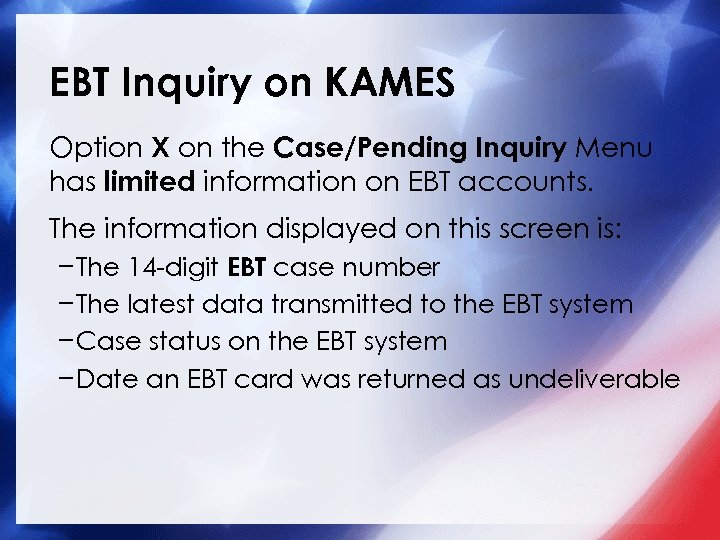 EBT Inquiry on KAMES Option X on the Case/Pending Inquiry Menu has limited information