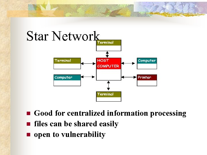 Star Network n n n Good for centralized information processing files can be shared