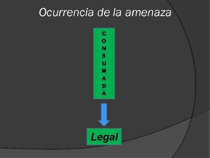 Ocurrencia de la amenaza C O N S U M A D A Legal