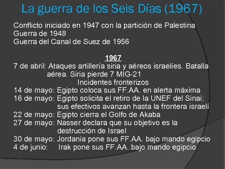 La guerra de los Seis Días (1967) Conflicto iniciado en 1947 con la partición