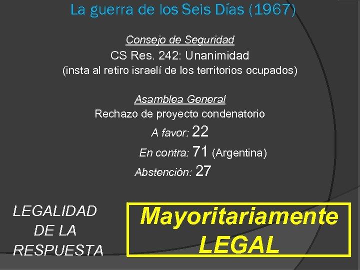 La guerra de los Seis Días (1967) Consejo de Seguridad CS Res. 242: Unanimidad