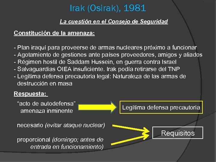 Irak (Osirak), 1981 La cuestión en el Consejo de Seguridad Constitución de la amenaza: