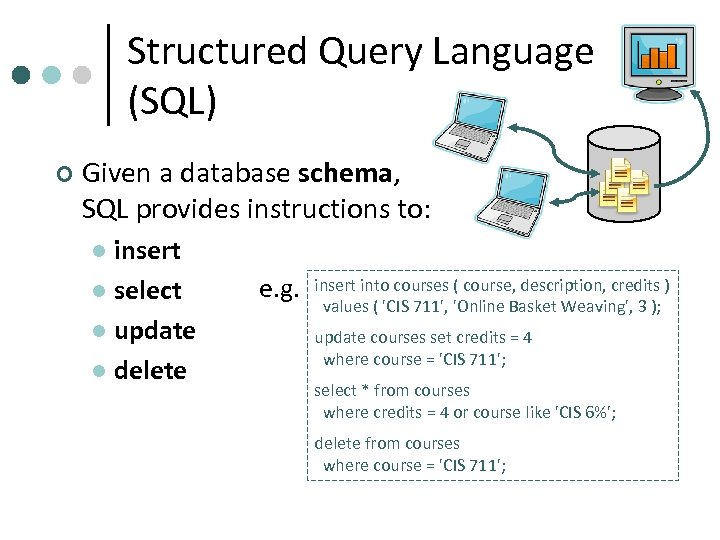 Structured Query Language (SQL) ¢ Given a database schema, SQL provides instructions to: insert