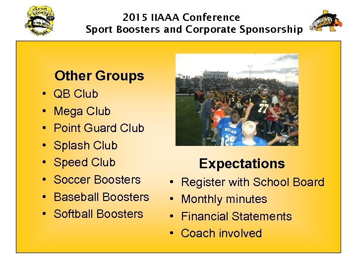 2015 IIAAA Conference Sport Boosters and Corporate Sponsorship Other Groups • • QB Club