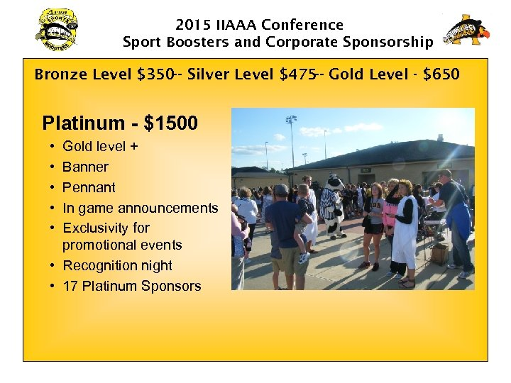 2015 IIAAA Conference Sport Boosters and Corporate Sponsorship Bronze Level $350 -- Silver Level
