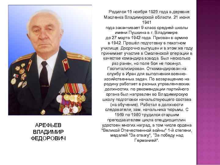 АРЕФЬЕВ ВЛАДИМИР ФЕДОРОВИЧ Родился 15 ноября 1925 года в деревне Масленка Владимирской области. 21