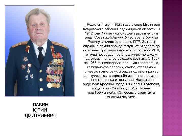 Родился 1 июня 1925 года в селе Милиново Ковровского района Владимирской области. В 1942