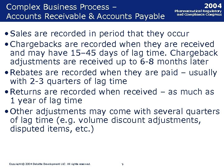 Complex Business Process – Accounts Receivable & Accounts Payable 2004 Pharmaceutical Regulatory and Compliance