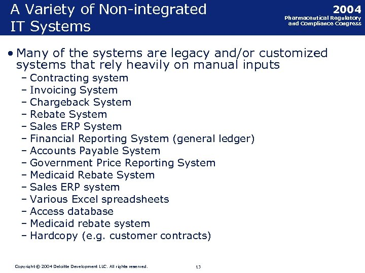 A Variety of Non-integrated IT Systems • Many of the systems are legacy and/or