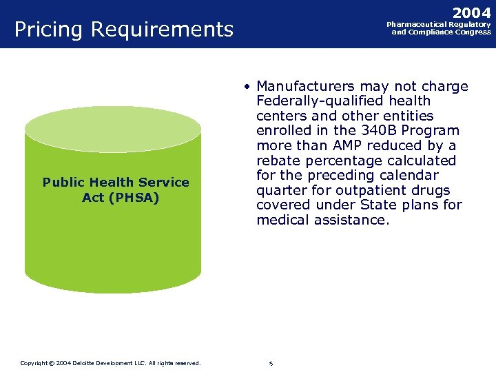 2004 Pricing Requirements Public Health Service Act (PHSA) Copyright © 2004 Deloitte Development LLC.