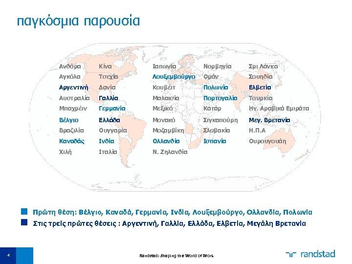παγκόσμια παρουσία Ανδόρα Κίνα Ιαπωνία Νορβηγία Σρι Λάνκα Αγκόλα Τσεχία Λουξεμβούργο Ομάν Σουηδία Αργεντινή