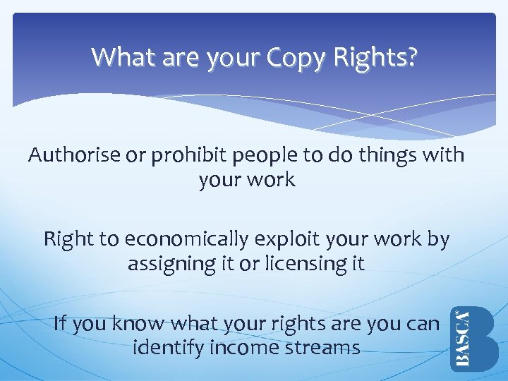 What are your Copy Rights? Authorise or prohibit people to do things with your