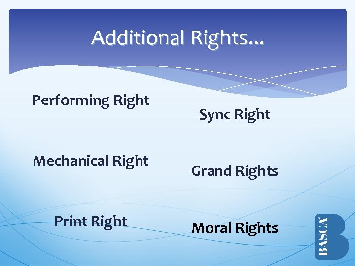 Additional Rights. . . Performing Right Mechanical Right Print Right Sync Right Grand Rights