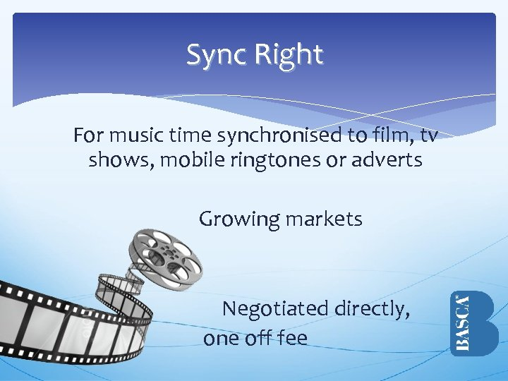 Sync Right For music time synchronised to film, tv shows, mobile ringtones or adverts