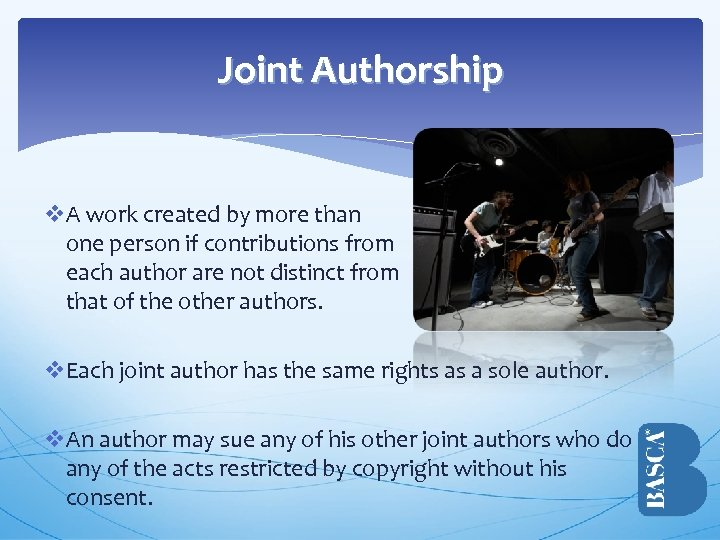 Joint Authorship v. A work created by more than one person if contributions from