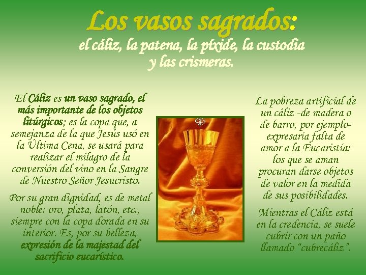 La Santa Misa Ii Vasos Sagrados Objetos Litúrgicos