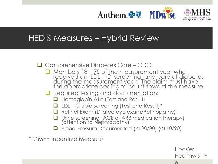 HEDIS Measures – Hybrid Review q Comprehensive Diabetes Care – CDC q Members 18