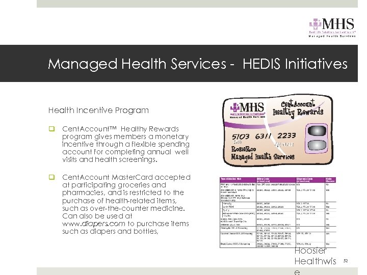 Managed Health Services - HEDIS Initiatives Health Incentive Program q Cent. Account™ Healthy Rewards