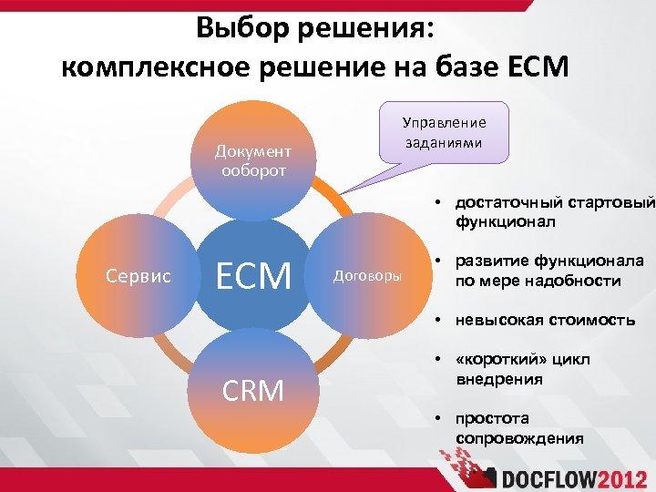 Выбор решения: комплексное решение на базе ECM Документ ооборот Управление заданиями • достаточный стартовый