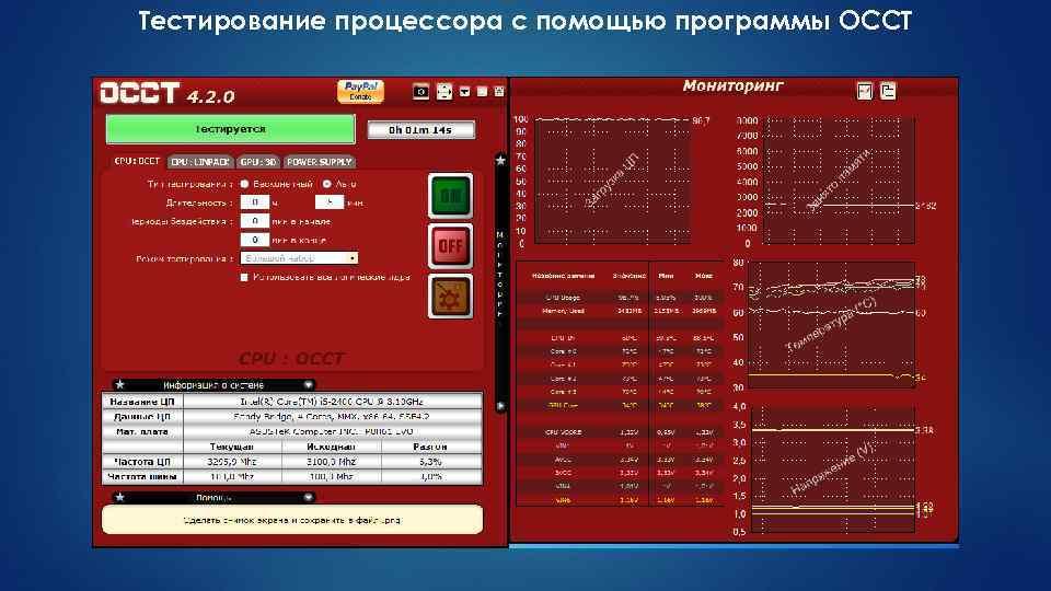 Тестирование процессора с помощью программы OCCT