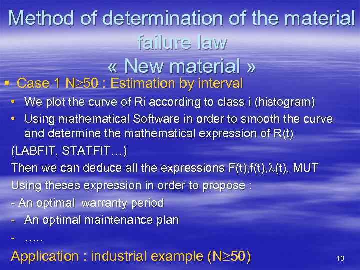 Method of determination of the material failure law « New material » § Case