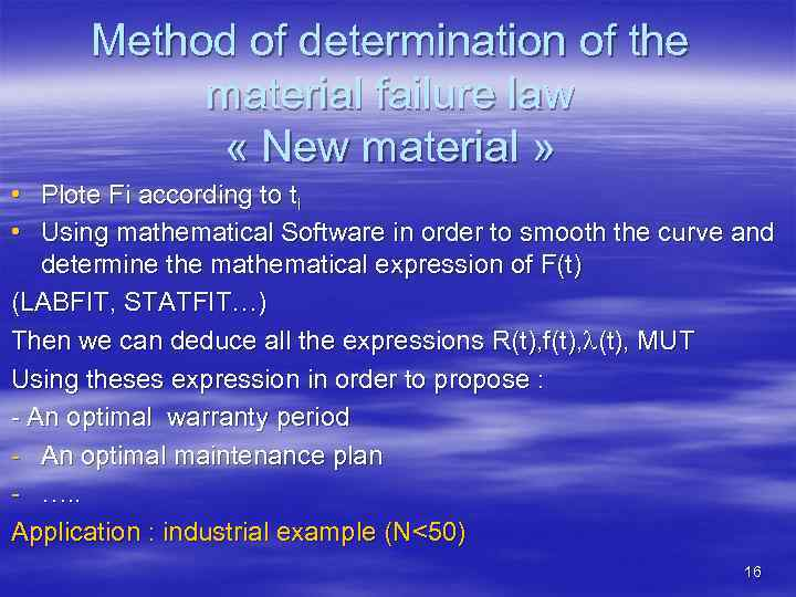 Method of determination of the material failure law « New material » • Plote