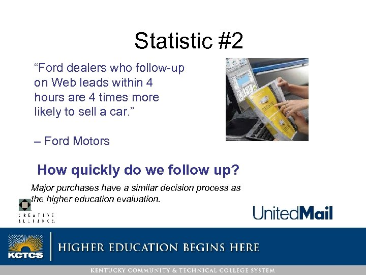 """Statistic #2 """"Ford dealers who follow-up on Web leads within 4 hours are 4"""