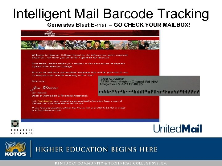 Intelligent Mail Barcode Tracking Generates Blast E-mail – GO CHECK YOUR MAILBOX!