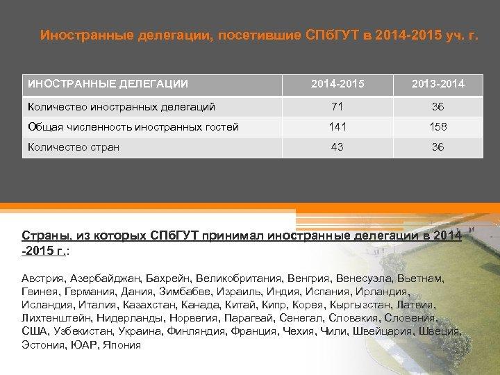 Иностранные делегации, посетившие СПб. ГУТ в 2014 -2015 уч. г. ИНОСТРАННЫЕ ДЕЛЕГАЦИИ 2014 -2015