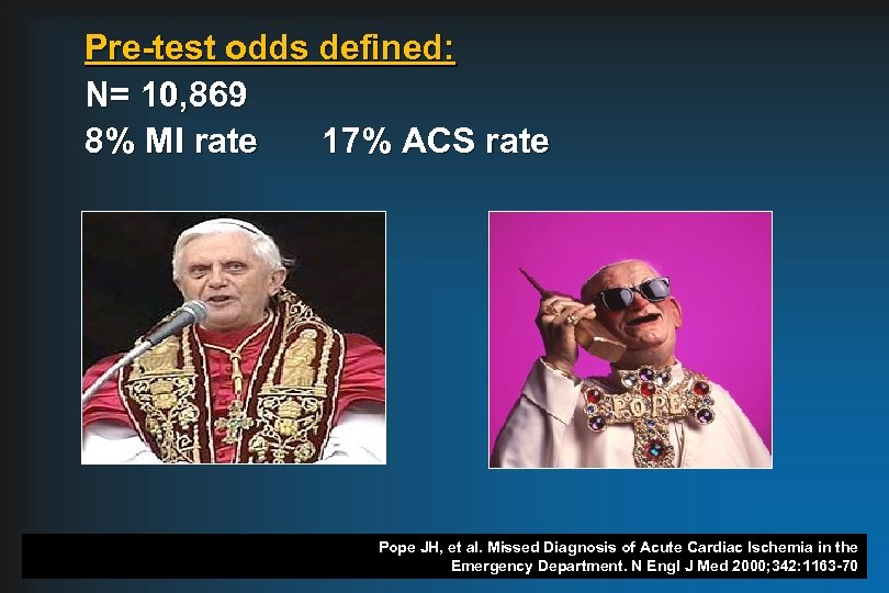 Pre-test odds defined: N= 10, 869 8% MI rate 17% ACS rate Pope JH,