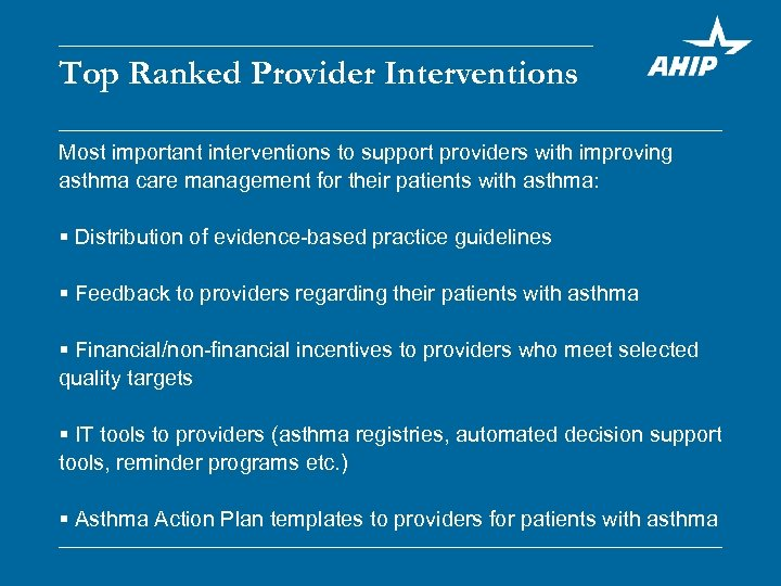 Top Ranked Provider Interventions Most important interventions to support providers with improving asthma care