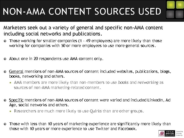 NON-AMA CONTENT SOURCES USED Marketers seek out a variety of general and specific non-AMA