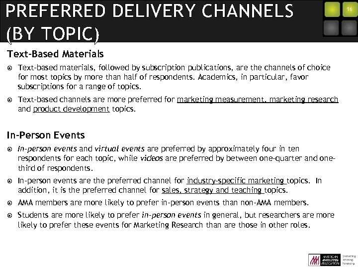 PREFERRED DELIVERY CHANNELS (BY TOPIC) Text-Based Materials Text-based materials, followed by subscription publications, are