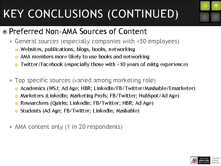 KEY CONCLUSIONS (CONTINUED) Preferred ¡ General sources (especially companies with <50 employees) ¢ ¢