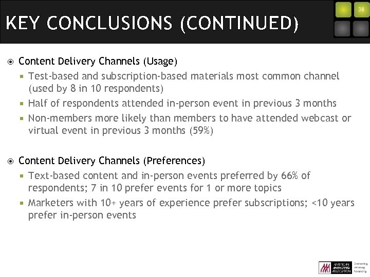 KEY CONCLUSIONS (CONTINUED) Content Delivery Channels (Usage) ¡ Test-based and subscription-based materials most common