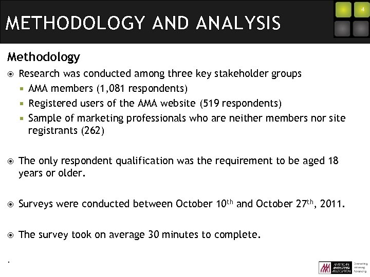 METHODOLOGY AND ANALYSIS Methodology Research was conducted among three key stakeholder groups ¡ AMA