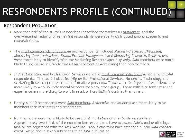 RESPONDENTS PROFILE (CONTINUED) Respondent Population ¡ More than half of the study's respondents described