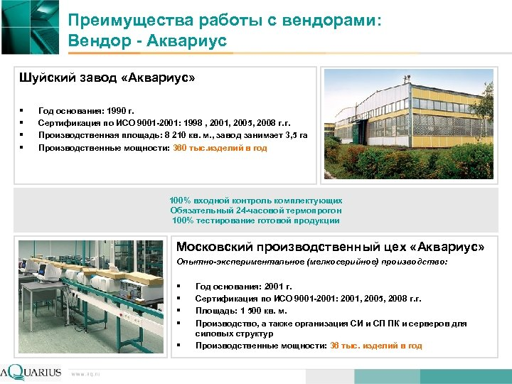 Преимущества работы с вендорами: Вендор - Аквариус Шуйский завод «Аквариус» § § Год основания: