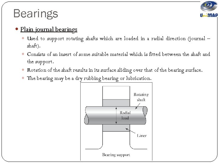 Bearings Plain journal bearings Used to support rotating shafts which are loaded in a