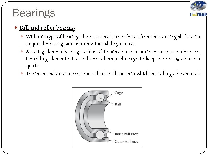 Bearings Ball and roller bearing With this type of bearing, the main load is