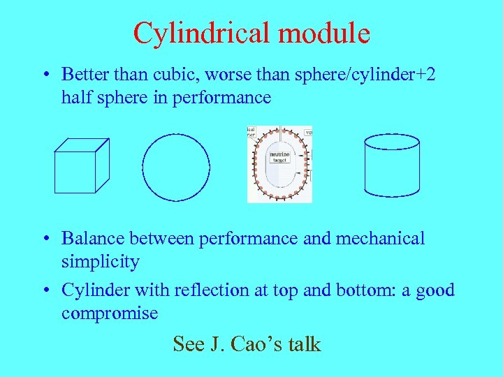 Cylindrical module • Better than cubic, worse than sphere/cylinder+2 half sphere in performance •