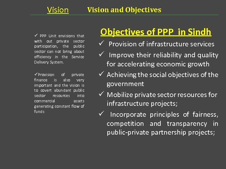 Vision ü PPP Unit envisions that with out private sector participation, the public sector