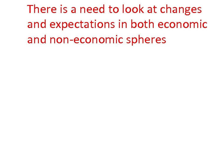 There is a need to look at changes and expectations in both economic and