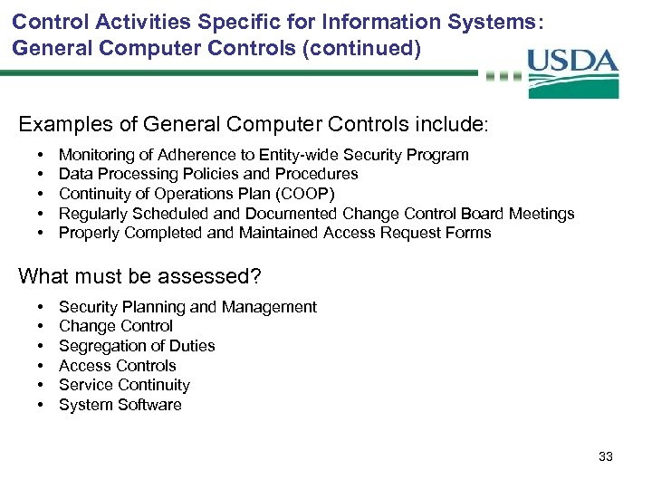Control Activities Specific for Information Systems: General Computer Controls (continued) Examples of General Computer