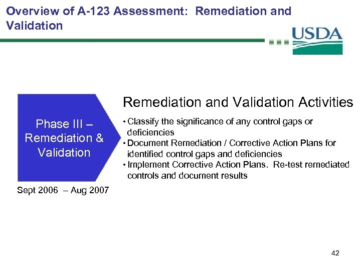 Overview of A-123 Assessment: Remediation and Validation Activities Phase III – Remediation & Validation