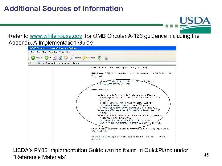 Additional Sources of Information Refer to www. whitehouse. gov for OMB Circular A-123 guidance