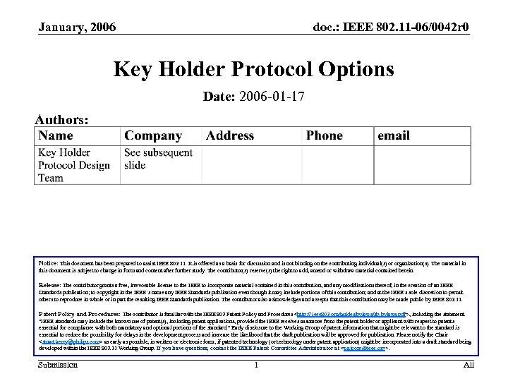 January, 2006 doc. : IEEE 802. 11 -06/0042 r 0 Key Holder Protocol Options