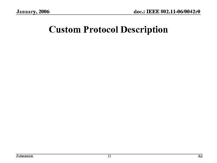 January, 2006 doc. : IEEE 802. 11 -06/0042 r 0 Custom Protocol Description Submission