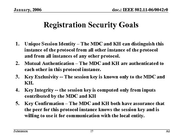January, 2006 doc. : IEEE 802. 11 -06/0042 r 0 Registration Security Goals 1.